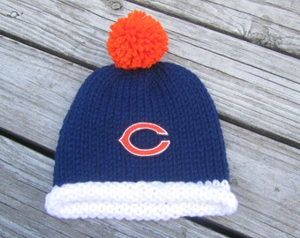 CHICAGO BEARS Baby Hat, Knit Baby Hat, Bears Hat, Chicago Baby Hat, Hand Knitted Baby Hat, Baby Hat, Football Hat, Knitted Baby Hat