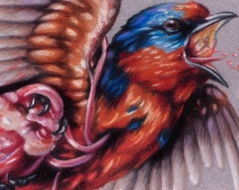 """Swallow and Anatomical Heart Illustration 5""""x7"""" Mini Giclee Print - """"For You"""""""