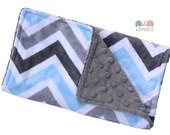 Burp Cloth Blue & Grey Chevron Double Minky, Burp Rag, Baby Shower, Newborn Gift, New Mom, Feeding, Nursing, New Mom, Essentials, Baby Gift