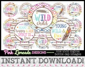 """Young Wild & Free - INSTANT DOWNLOAD 1"""" Bottle Cap Images 4x6 - 910"""