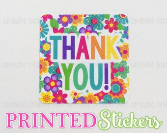 "Cheerful Flowers ""Thank You"" Stickers - 2 sheets 1 or 1.5 inch stickers - printed stickers for your business or event - GLOSSY"