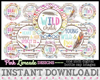 "Young Wild & Free - INSTANT DOWNLOAD 1"" Bottle Cap Images 4x6 - 910"