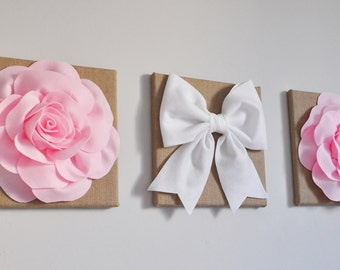 Baby girl nursery wall hangings, pink nursery banner, burlap nursery flowers, burlap nursery decor, rustic nursery decor, baby shower decor