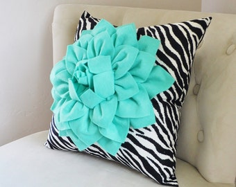 Teal Pillow, Pool Turquoise Pillow, Decorative Throw Pillow Covers, Nursery, One, Teal Zebra Print Throw Pillow Cover, Teal Flower Cushion