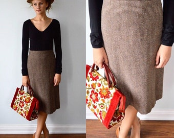 Vintage Wool Skirt, Hounds-tooth Skirt, Charles Reviere, 1970s Wool Skirt, Fall Skirt, Skirt