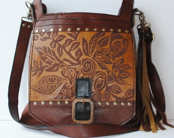 "Large Leather Cross Body Satchel In Red Brown with Floral Print "" The Urban"""