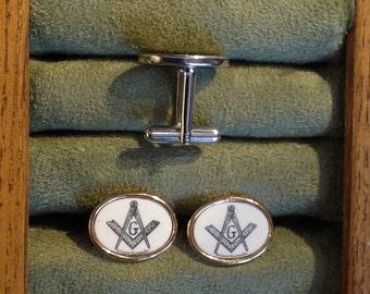 Cufflinks-Polymer Reproduction Scrimshaw-Masonic