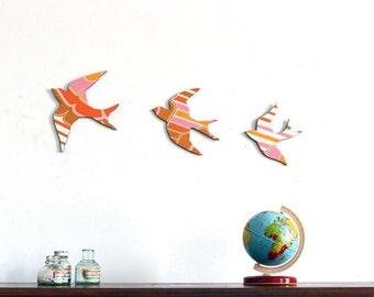 Pink and Orange Striped Sunny Swallows - Wall Art - Plywood - Ready to Hang
