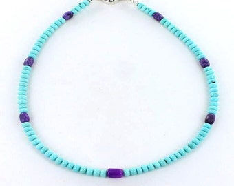 """Mexican Turquoise And Sugilite Beads Necklace 17"""""""
