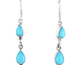 Sleeping Beauty Turquoise 2 Stone Teardrop Earrings Sterling