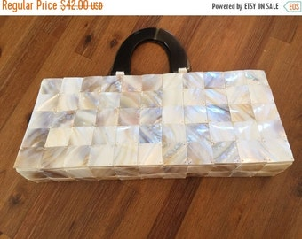 ON SALE Vintage Shiraleah Abalone Shell Tiled Lucite handle Pink Lined Dual Handle Magnetic Clutch Purse