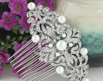 Rhinestone Pearl  Comb, Rhinestone Bridal Comb, Rhinestone Bridal  Headpiece, Pearl Bridal Comb, Wedding Jewelry