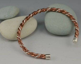 Twisted Recycled Copper & Silver wire cuff ....  contemporary bracelet METALSMITH Artisan jewelry by Mikelene