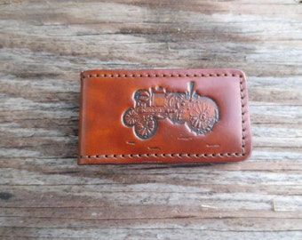 Leather Money Clip with Vintage Tractor