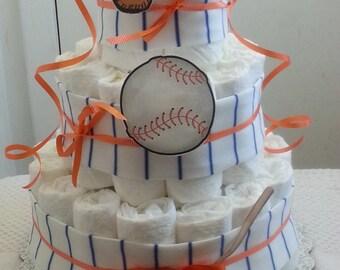 3 Tier Diaper Cake Pinstripe Baseball Baby Shower Gift Centerpiece