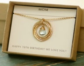 70th birthday gift for mom jewelry for grandma gift, blue topaz necklace gold, December birthstone necklace for her - Lilia