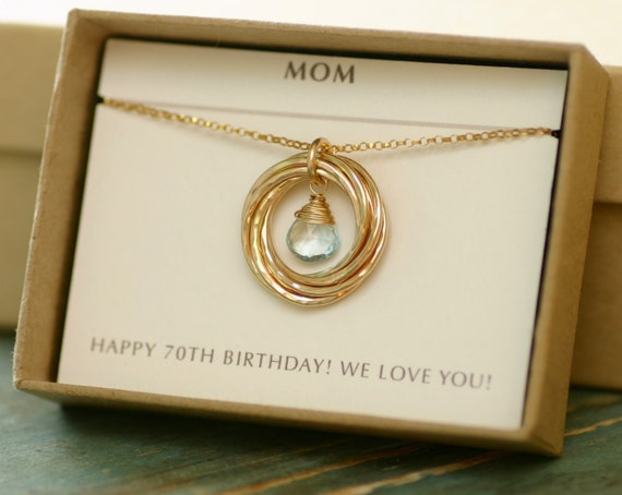 70th birthday gift for mom jewelry for grandma gift blue