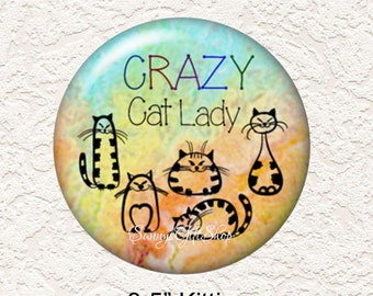 "Crazy Cat Lady, Your Choice of 3.5"" or 2.25"" Pocket Mirror Cat with Black Velour Bag Buy 3 Get 1 Free  514"