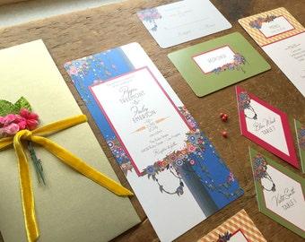 Wedding Invitation Set, Wedding Invitation, Boho Wedding, Rustic Wedding, Wedding invitations, Flower Wedding Invitation, Hanging Gardens