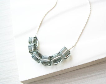 Simple Grey Necklace, Crystal Jewelry, Cube, Contemporary, Nickel Free Sterling Silver Option, Neutral, Modern