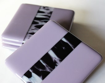 FUSED GLASS Drink Coasters, Under 25, Wedding Shower Gift, Coasters for Drinks, Bar Coasters, Zebra Coasters, Kitchen Decor, Table Coasters