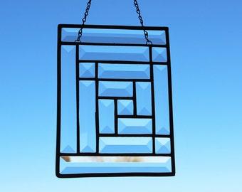 CLEAR GLASS SUNCATCHER- Sparkling Bevels Suncatcher, Gift for Birthday, Suncatcher Under 25, Prisms Rainbows, Small Suncatcher, Glass Bevels