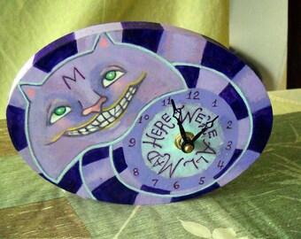 """Cheshire Cat """"Smiling Kitty"""" CLOCK Alice In Wonderland"""