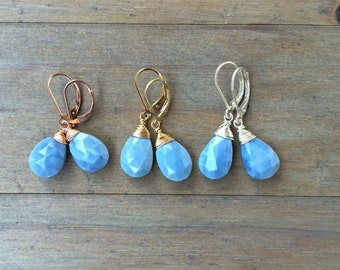 Blue Opal earrings.  Choose gold, rose gold, sterling silver.  Natural stones