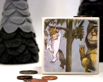Where The Wild Things Are  Wood Bank, Piggy Bank, Wooden Coin Bank, Money Box, Coin Box, Max, Monsters, Rumpus, Children, Storybook