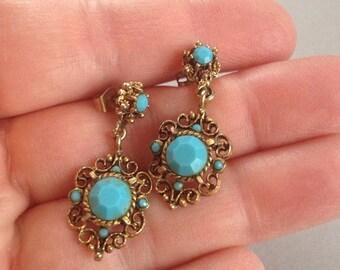 Turquoise Pierced Dangle Earrings