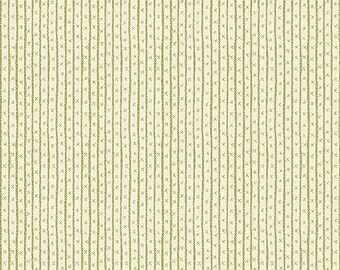 Small Scale Cream and Green Stripe - All in a Day from Henry Glass - Full or Half Yard Tiny X's and Lines on Green - Anni Downs