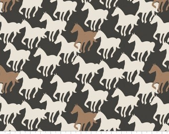 Horse Silhouettes in Carbon - Equestrian from Camelot Cottons - Full or Half Yard Carmel and Cream Horses on Carbon Black