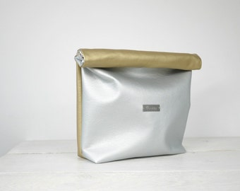 Silver and Gold Lunch Bag, Silver and Gold Lunch Tote