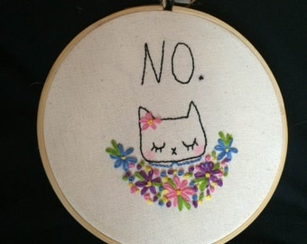 Politely Declining Cat Embroidery