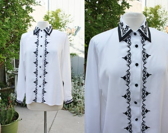 1990's White With Black Embroidery Blouse Size 12 Polyester Vintage Retro 90's Office Secretary Hipster