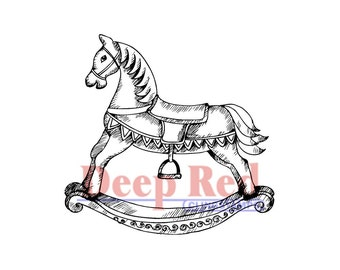 Deep Red Rubber Cling Stamps ROCKING HORSE Child Toy