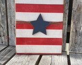 Americana American flag hand painted wood sign Fourth of July summer Independence Day military home decor Stars and Stripes star red white