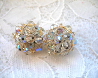 Vintage Cluster Earrings ~ Clip On ~ AB Crystal Beads