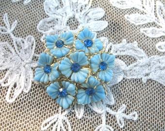 Vintage Celluloid Flower Brooch ~ Blue ~ Rhinestones