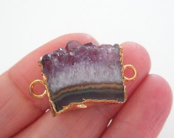 Amethyst Druzy Pendant - Purple Quartz Slice Connector - 2 Loops - Double Sided Pendant - Smooth Surface - Electroplated Gold - DIY Jewelry