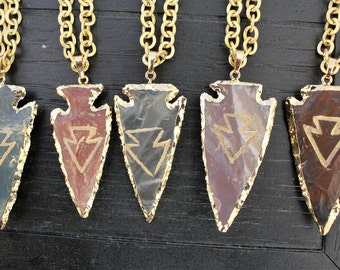 Arrowhead Necklace Arrowhead Jewelry Boho Necklace Tribal Necklace Rustic Necklace Boho Jewelery Hippie Necklace Gold Arrowhead Necklace