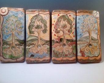 Four seasons plaques/four seasons/decorative tile/ceramic tile/trees/tree art/clay tile/mosaics/mosaic tile