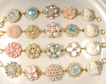 OOAK Blush Pink Mint Blue/Aqua Gold Bridesmaid Bracelet Set 4 5 6, Bridesmaid Gift Rustic Wedding Pearl Rhinestone Vintage Earring Bracelet