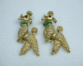 Vintage Poodle dogs gold tone pin set  figural brooch-with Rhinstones