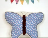 Embroidered Butterfly Pillow - Nursery Decor - For a Little Girl's Room