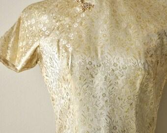 ON SALE Vintage 50s Gold Silk Cheongsam Wiggle Dress size Small 28 Inch Waist