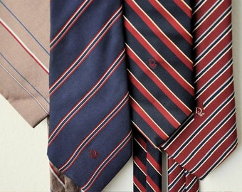 Set of 4 Vintage Designer Christian Dior Nautical Stripe Neckties