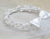 Floral Communion Wreath White Ivory Satin Flower Pearls Child Halo Headpiece Bridesmaid Flowergirl Hair Accessory