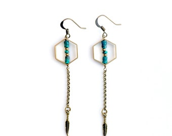 Hexagon and turquoise bead earrings with mini feather dangle