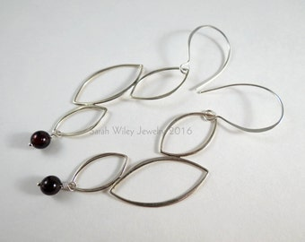 Earrings: Sterling Silver Leaf Link and Garnet by Sarah Wiley Jewelry 160007SG